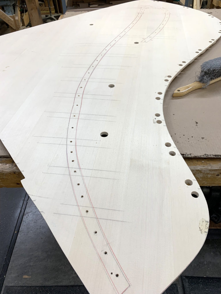 Swiss Tonewood Soundboard with bridge pattern and drilled holes - ready to set and glue the bridge.